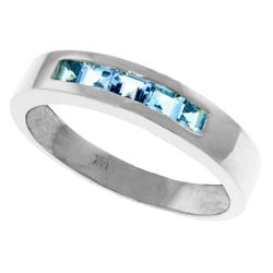 Genuine 0.60 ctw Blue Topaz Ring Jewelry 14KT White Gold - REF-46F2Z