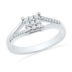 0.25 CTW Diamond Square Cluster Ring 10KT White Gold - REF-30M2H