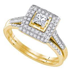 0.20 CTW Diamond Square Halo Bridal Engagement Ring 14KT Yellow Gold - REF-75H2M