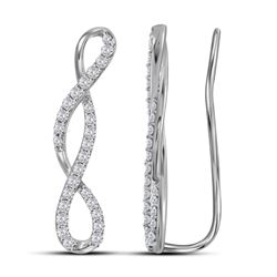 0.46 CTW Diamond Infinity Climber Earrings 10KT White Gold - REF-37Y5X