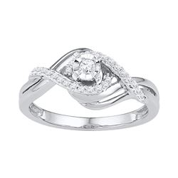 0.21 CTW Diamond Solitaire Bridal Engagement Ring 10KT White Gold - REF-25W4K