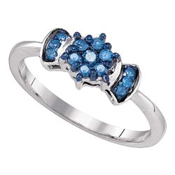 0.25 CTW Blue Color Diamond Flower Cluster Ring 10KT White Gold - REF-19X4Y