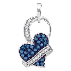 0.33 CTW Blue Color Diamond Captured Heart Pendant 10KT White Gold - REF-19K4W