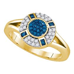 0.40 CTW Blue Color Diamond Circle Cluster Ring 10KT Yellow Gold - REF-38N9F