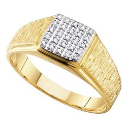 0.12 CTW Mens Diamond Square Cluster Brushed Ring 10KT Yellow Gold - REF-19K4W