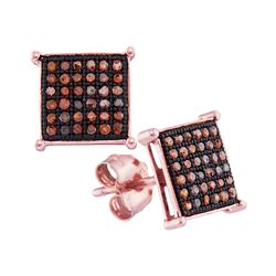 0.20 CTW Red Color Diamond Square Earrings 10KT Rose Gold - REF-19N4F