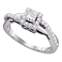 0.50 CTW Princess Diamond Princess Bridal Engagement Ring 14KT White Gold - REF-75M2H