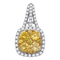 1.99 CTW Yellow Diamond Square Cluster Pendant 14KT White Gold - REF-240M2H