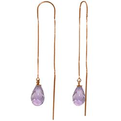 Genuine 4.5 ctw Amethyst Earrings Jewelry 14KT Rose Gold - REF-20Z4N