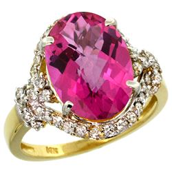 Natural 5.89 ctw pink-topaz & Diamond Engagement Ring 14K Yellow Gold - REF-88K8R