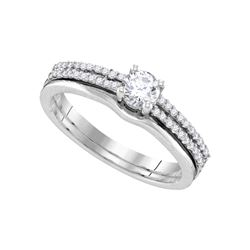 0.50 CTW Diamond Double Row Bridal Wedding Engagement Ring 14k White Gold - REF-82M4H
