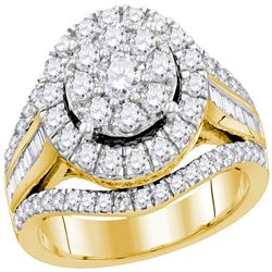 1.95 CTW Diamond Cluster Bridal Engagement Ring 10KT Yellow Gold - REF-149M9H
