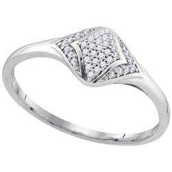 0.10 CTW Diamond Cluster Fashion Ring 10KT White Gold - REF-12F8N