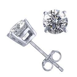 14K White Gold Jewelry 1.02 ctw Natural Diamond Stud Earrings - REF#141W9Z-WJ13296