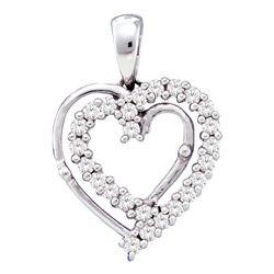 0.25 CTW Diamond Heart Pendant 10KT White Gold - REF-22M4H