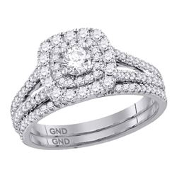 1 CTW Diamond Double Halo Bridal Engagement Ring 14KT White Gold - REF-136W4K