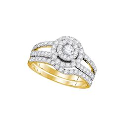 1 CTW Diamond Halo Split-shank Bridal Engagement Ring 14KT Yellow Gold - REF-112K5W