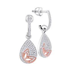 0.40 CTW Diamond Teardrop Rose-tone Butterfly Dangle Earrings 10KT White Gold - REF-41H9M