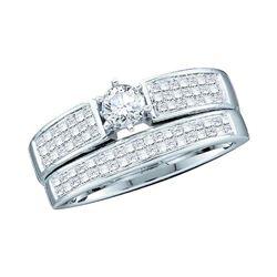 1 CTW Diamond Bridal Wedding Engagement Ring 14KT White Gold - REF-89W9K