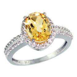 Natural 1.91 ctw Citrine & Diamond Engagement Ring 10K White Gold - REF-31W7K