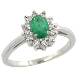 Natural 0.72 ctw Emerald & Diamond Engagement Ring 10K White Gold - REF-40R5Z