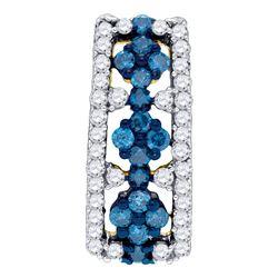 0.51 CTW Blue Color Diamond Cluster Vertical Pendant 10KT Yellow Gold - REF-30Y2X