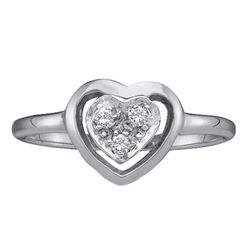 0.05 CTW Diamond Simple Heart Cluster Ring 10KT White Gold - REF-14H9M