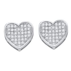 0.25 CTW Diamond Heart Love Cluster Earrings 10KT White Gold - REF-22N4F