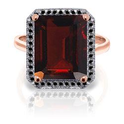 Genuine 7.7 ctw Garnet & Black Diamond Ring Jewelry 14KT Rose Gold - REF-87H7X