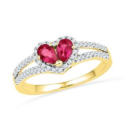 0.72 CTW Pear Created Ruby Heart Split-shank Ring 10KT Yellow Gold - REF-19N4F