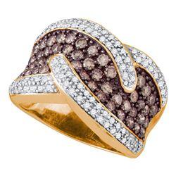 2.1 CTW Cognac-brown Color Diamond Cocktail Ring 10KT Rose Gold - REF-142M4H