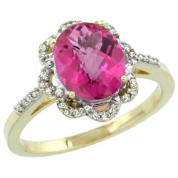 Natural 1.85 ctw Pink-topaz & Diamond Engagement Ring 14K Yellow Gold - REF-38Y6X
