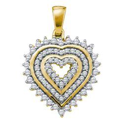 0.35 CTW Diamond Heart Pendant 10KT Yellow Gold - REF-26M9H