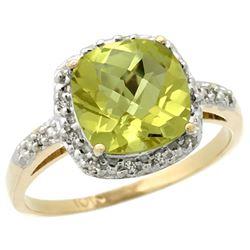 Natural 3.92 ctw Lemon-quartz & Diamond Engagement Ring 14K Yellow Gold - REF-33Y6X