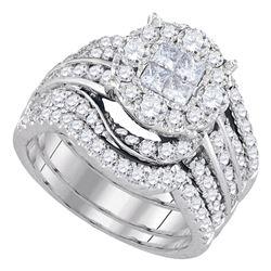 2.51 CTW Princess Diamond Soleil Bridal Engagement Ring 14KT White Gold - REF-269H9M