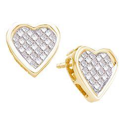 0.50 CTW Princess Diamond Cluster Heart Screwback Stud Earrings 14KT Yellow Gold - REF-52N4F