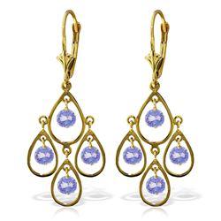 Genuine 2.4 ctw Tanzanite Earrings Jewelry 14KT Yellow Gold - REF-74Z6N