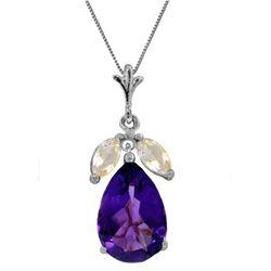Genuine 6.5 ctw Amethyst & White Topaz Necklace Jewelry 14KT White Gold - REF-38X2M