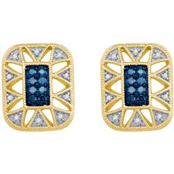 0.25 CTW Blue Color Diamond Rectangle Cluster Earrings 10KT Yellow Gold - REF-26H9M