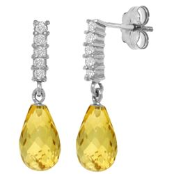 Genuine 4.65 ctw Citrine & Diamond Earrings Jewelry 14KT White Gold - REF-36M2T