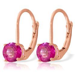 Genuine 1.30 ctw Pink Topaz Earrings Jewelry 14KT Rose Gold - REF-23W6Y