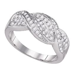 0.50 CTW Diamond Crossover Ring 14k White Gold - REF-75W2K