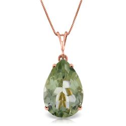 Genuine 5 ctw Green Amethyst Necklace Jewelry 14KT Rose Gold - REF-30A3K