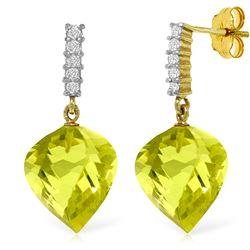 Genuine 21.65 ctw Lemon Quartz & Diamond Earrings Jewelry 14KT Yellow Gold - REF-52N9R