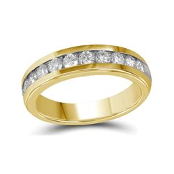 1 CTW Mens Diamond Wedding Anniversary Ring 10KT Yellow Gold - REF-132X2Y