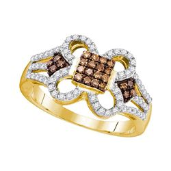 0.45 CTW Cognac-brown Color Diamond Square Cluster Ring 10KT Yellow Gold - REF-34Y4X