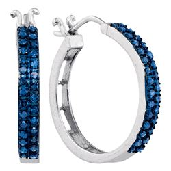 0.50 CTW Blue Color Diamond Double Row Hoop Earrings 10KT White Gold - REF-37F5N