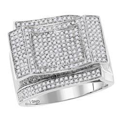 0.89 CTW Mens Diamond Square Cluster Ring 10KT White Gold - REF-119W9K