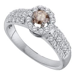 0.75 CTW Cognac-brown Color Diamond Solitaire Halo Bridal Ring 14KT White Gold - REF-82N4F