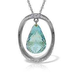Genuine 11.60 ctw Blue Topaz & Diamond Necklace Jewelry 14KT White Gold - REF-112H2X